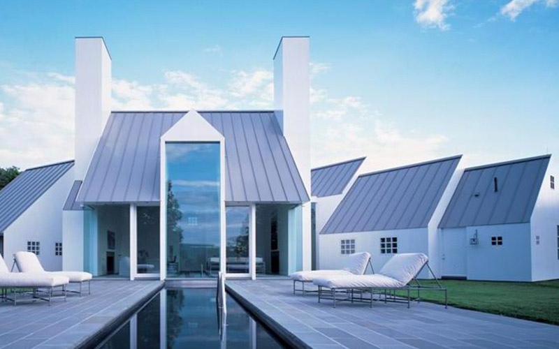 Home with an energy efficient metal roof